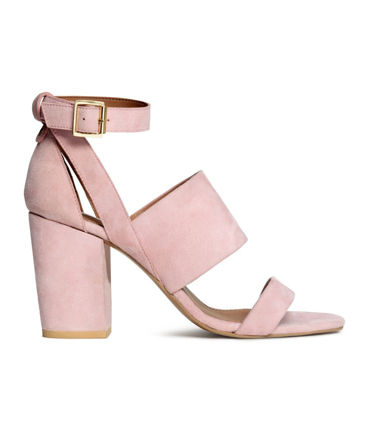 Sandals in suede and leather with covered block heels and an adjustable ankle strap with metal buckle. | H&M Pastels