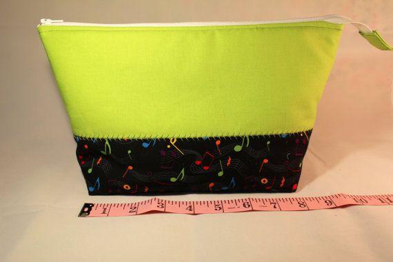 Flat Bottom Bag  Music Notes  Black & Green  Padded  by KRaeDesign