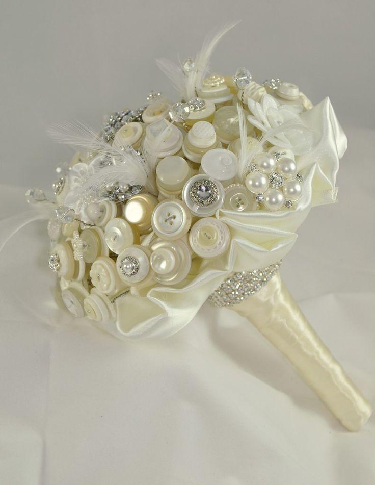 Vintage Wedding Bouquet Buttons Re Purposed