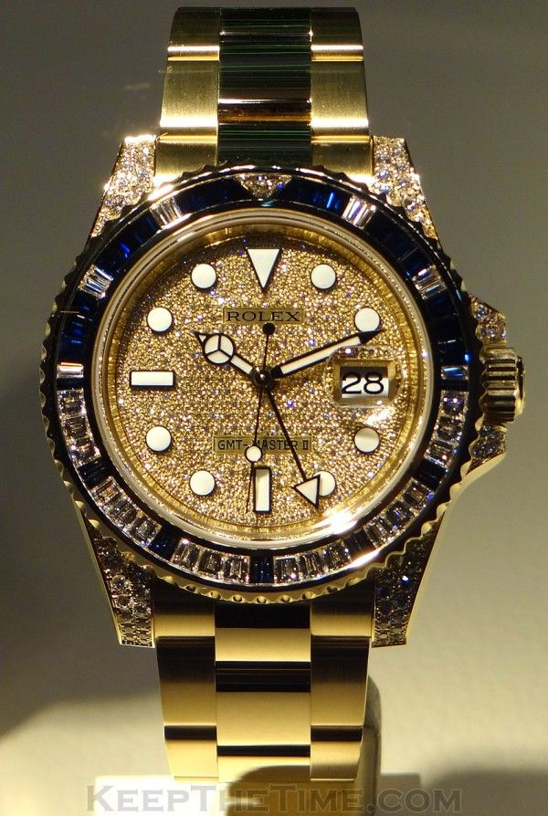 ♛ Rolex GMT Master II - 18k Gold & Diamonds ♛