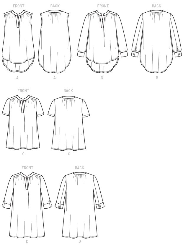 Very loose-fitting, pullover tops and tunic (close-fitting through bust) have front and back gathered into neck band, front band, forward shoulder seams, front pleat, hemline variations, and narrow hem. A: Bias armhole facings. C: Stitched hem on sleeves. B, D: Two-piece sleeves gathered into button cuffs, slit opening. Shaped hemline A, B and rolled sleeves D: Wrong side shows.