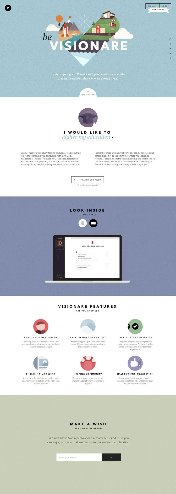 My word, now this is a beautiful one page website. 'Visionare' is an upc…
