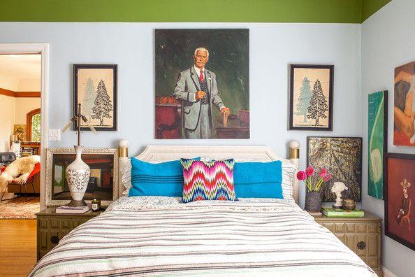 Bohemian Eclectic Vintage Bedroom: Vintage artwork hanging in Tamara Kaye-Honey's guest bedroom.