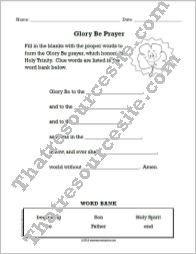 Glory Be Prayer Fill-In the Blanks Worksheet