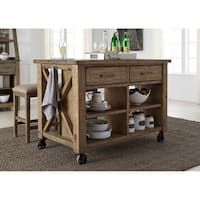 Prescott Valley Solid Pine Antique Honey Kitchen Island - Brown