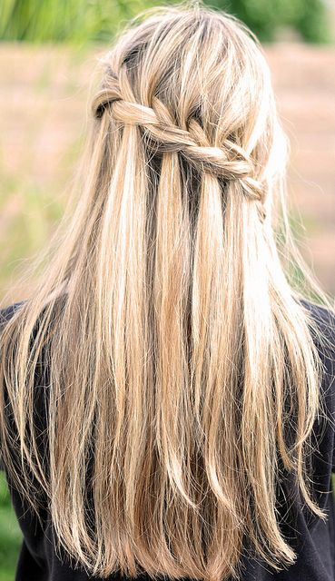 "Partial French Braid with Cascading Hair ~ Tutorial (also known as the ""Waterfall Braid"") #hair #DIY #tutorial"