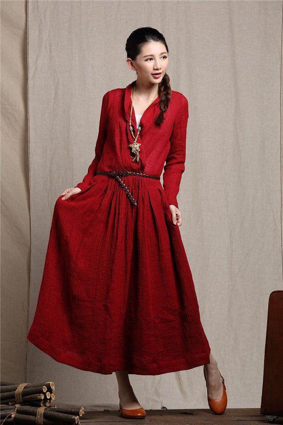 Robe rouge en lin robe large robe longue de lin par camelliatune