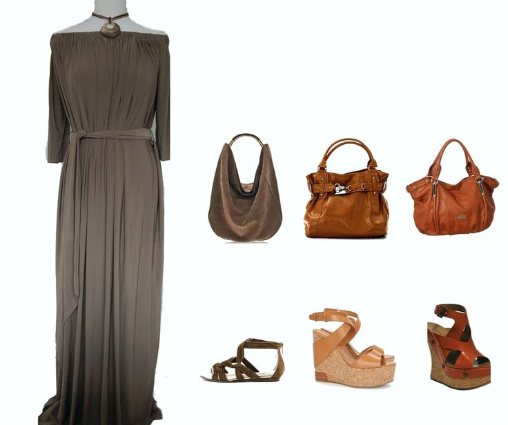 Code Women Taupe Maxi Dress. Style with Brown, Camel or Burnt Orange Accessories.