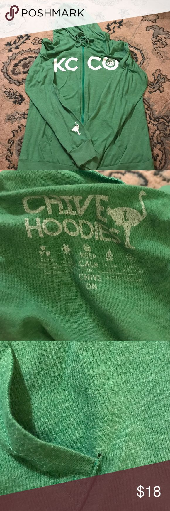 Men's Large Chive hoody Green KCCO hoody. Tshirt material. Can be unisex. Small hole forming near the pocket shown in photo. All Chive items 2 for $25. Comment below and I'll bundle them for you. Chive on! chive Shirts Sweatshirts & Hoodies