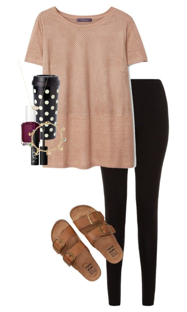 """""""Always see the glass half full"""" by erinlmarkel ❤ liked on Polyvore featuring Billabong, Violeta by Mango, Kate Spade, Essie, NARS Cosmetics, Bling Jewelry and Kendra Scott"""