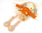 vestido da boneca até set, laranja e lã de camelo sentia, camisola de boneca, sapatos boneca, bolsa, boneca, boneca conjunto de acessórios, vestir-se, brinquedo eco-friendly