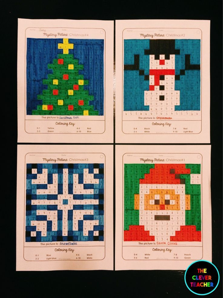 Christmas Math! Students solve the multiplication or division equation in each box. Then, they color according to the coloring key. This is a FUN way to build math fluency! Each of the 4 pictures comes with 3 skill levels. NOTE: This store also has addition and subtraction mystery pictures for every holiday. $