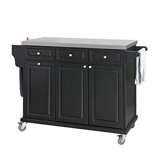 SoBuy® FKW33-SCH, Black Luxury Kitchen Island Kitchen Storage Trolley Cart, Kitchen Cabinet with Stainless Steel Worktop #SoBuy® #SCH, #Black #Luxury #Kitchen #Island #Storage #Trolley #Cart, #Cabinet #with #Stainless #Steel #Worktop