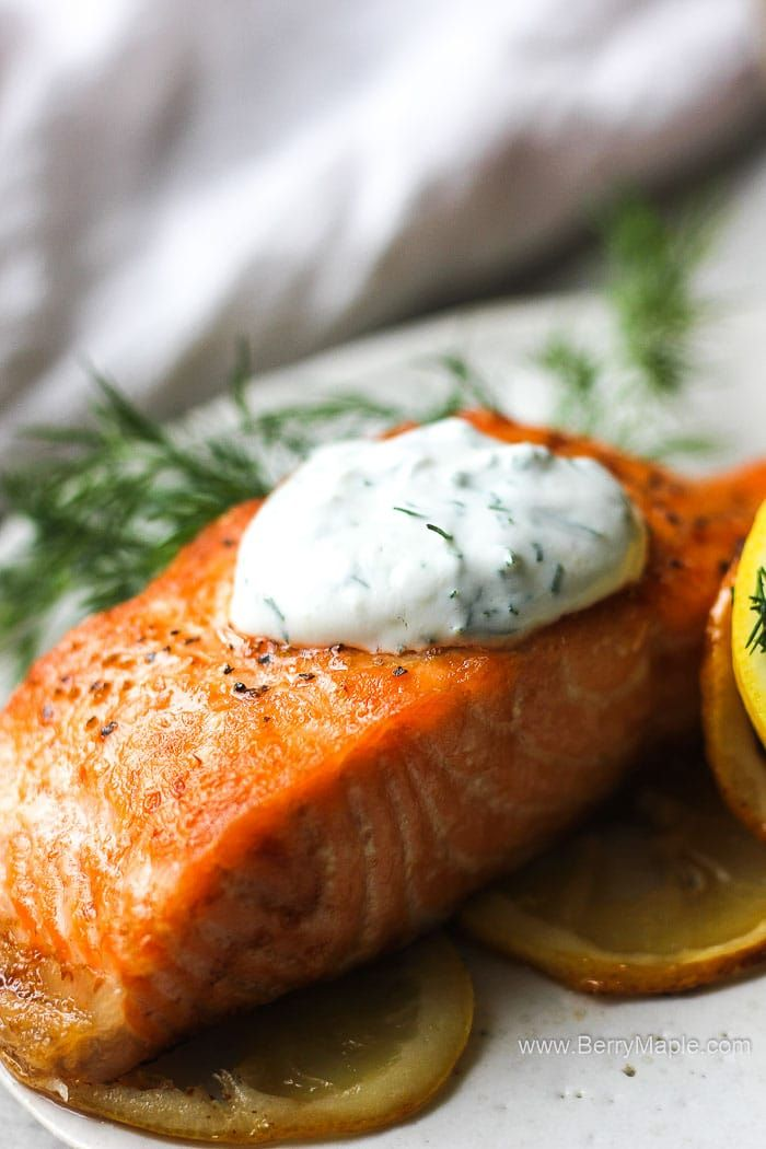 Perfect Air Fryer Salmon Fillet Cooked From Fresh Or Frozen Fish Infused With Lemon And Covered With Greek Air Fryer Dinner Recipes Air Fryer Recipes Recipes