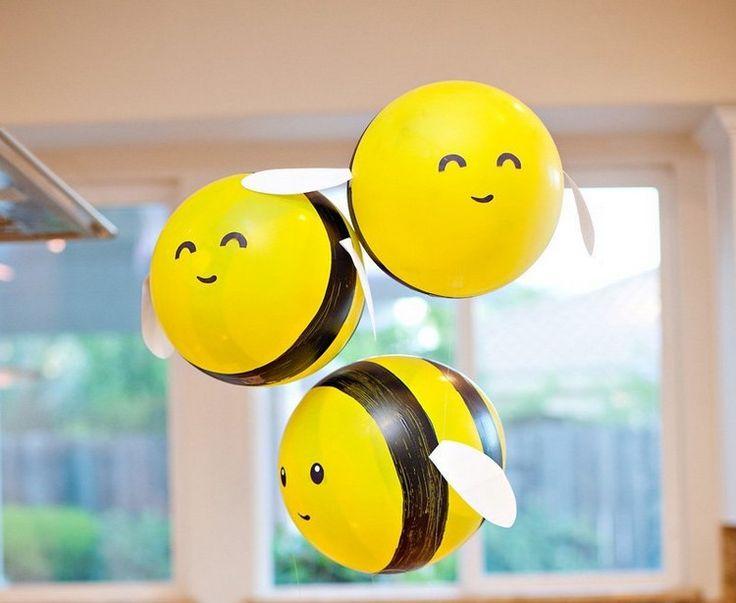 Verwandle gelbe Luftballons schnell und einfach in Bienen   – kindergeburtstag