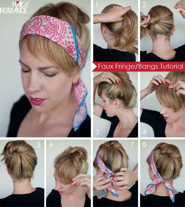 Hair Romance - Prada inspired faux fringe tutorial; another way to wear a head scarf