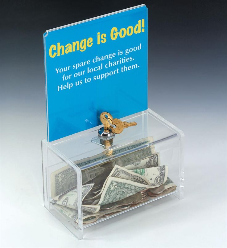 Acrylic Donation Box with Lock, 6 x 6 Header - Clear