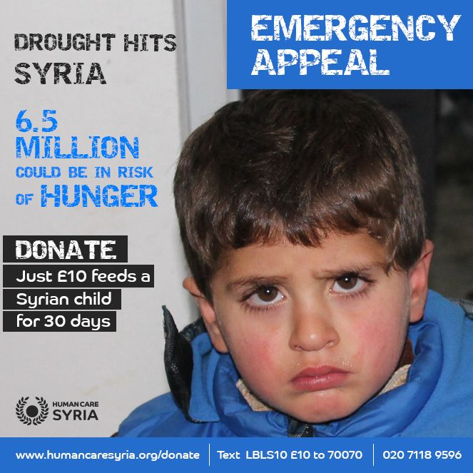 Drought Hits Syria, 6.5 Million Syrians could be in risk of hunger, Donate now! www.humancaresyria.org/donate