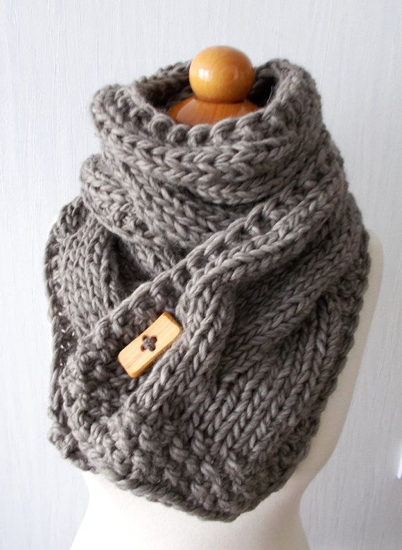 Chunky Scarf Handknit Big Cowl Extra Thick Cabled by LaimaShop