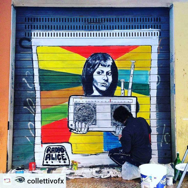"""In via del Pratello si coltiva la memoria.  #lavorareconlentezza  @mutenye  @collettivoFX via @renstapp ··· """" RADIO ALICE, radio libera che sfruttava la forza della cultura e la libertà di espressione (non di opinionismo). Teatro, poesia, letteratura e creatività che nasceva in radio per finire in piazza. Cosa farebbe oggi radio Alice? Con la sua ironia cosa organizzerebbe? È quello che ci siamo chiesti con @lu.prete per ArtiPoverePratello"""