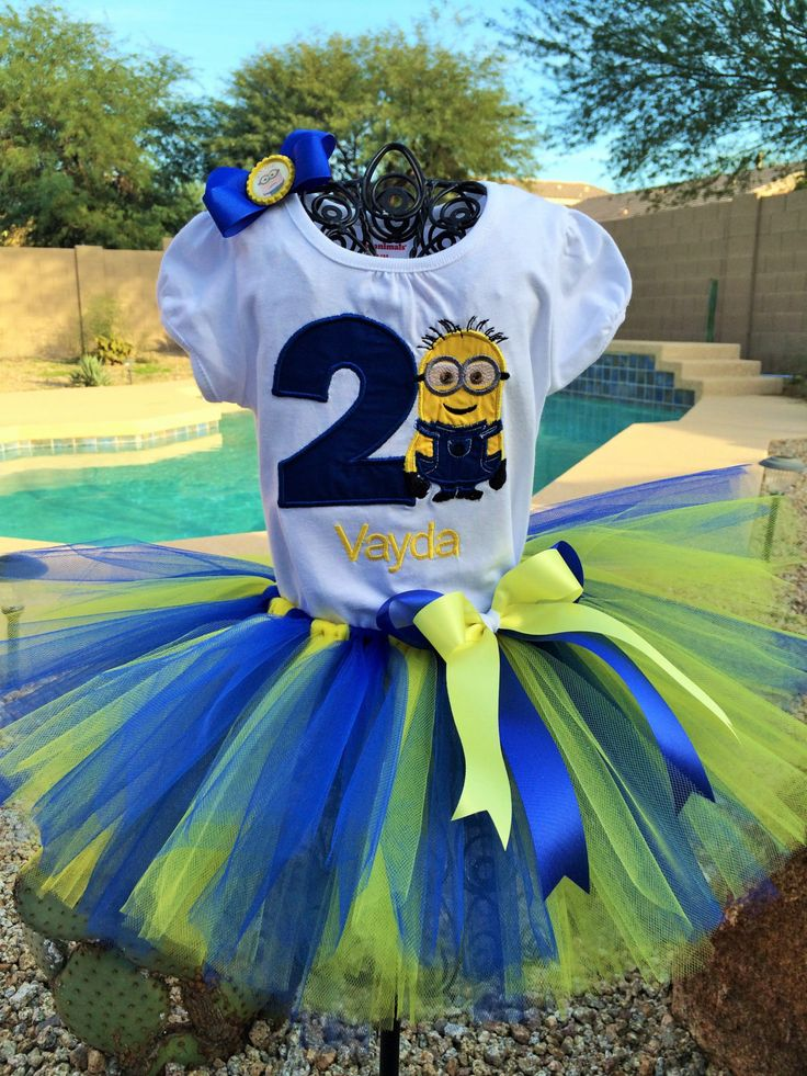 Pesonalized Minion tutu outfit, Birthday tutu. by TutuCuteandBowTastic on Etsy