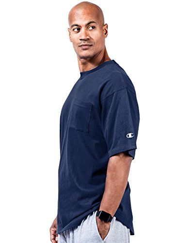 Champion Big & Tall Men's Short Sleeve Pocket Jersey Tee  Generous, athletic fit allows total mobility  All cotton jersey knit is ideal for training or relaxing  Ribbed knit collar keeps its shape  Sturdy double-stitch sleeves and hem  Big: 33-inch length; Tall: 35-inch length