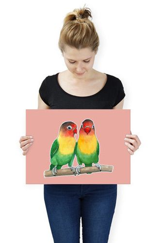Fischer's lovebirds (Watercolor painting) Poster made out of metal by @savousepate on @displate #artprint #homedecor #parrots #budgerigars #parakeets #birds #lovebirds
