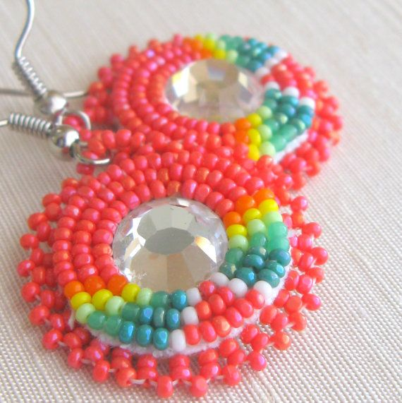 Native American applique beaded earrings American Indian beadwork traditional beadwork earrings tangerine and lime via Etsy