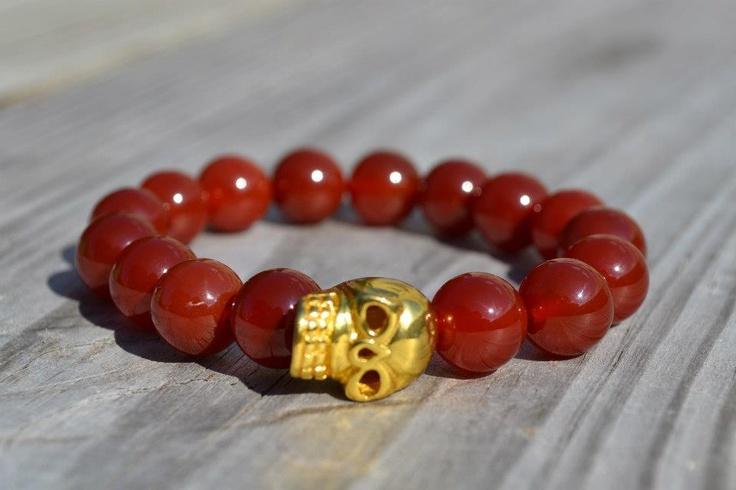 Perlas de Ágata Roja  Calavera Dorada