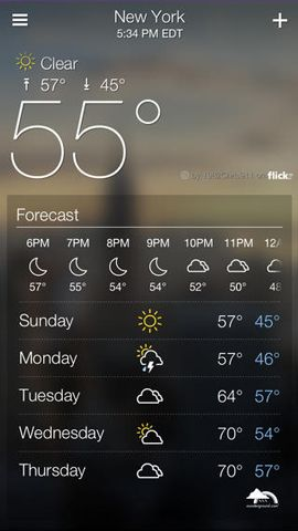 screenshot of Yahoo Weather iOS application