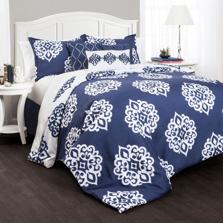Constructed of quality polyster, this stunning comforter set is designed to last for years to come. The blue and navy colors complement each other well and will enhance any home.