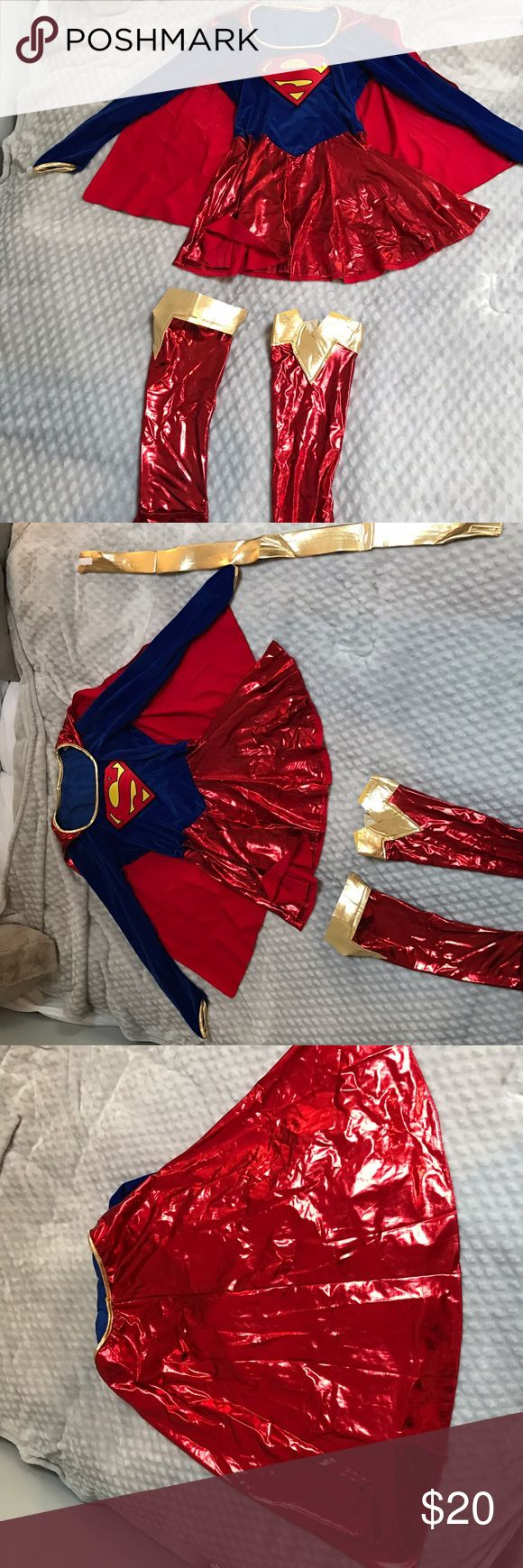 """Super woman costume Need a Halloween costume or a costume for a party?! Super Woman! Super comfortable and flattering. Has a cape and a gold belt that you Velcro around your waist. Comes with little """"shoes"""" that you wear on your calves. Other"""
