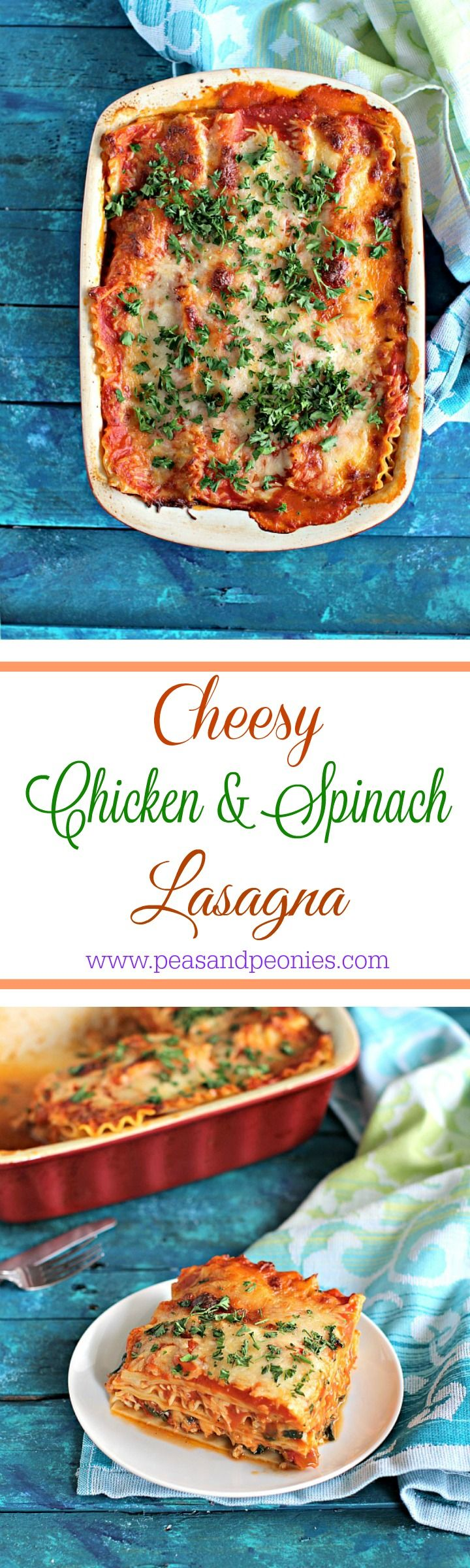 Best Chicken Spinach Lasagna - My best chicken spinach lasagna is easy to make, loaded with lean chicken and spinach for a nutritional boost. Delicious, and stores well. Peas and Peonies