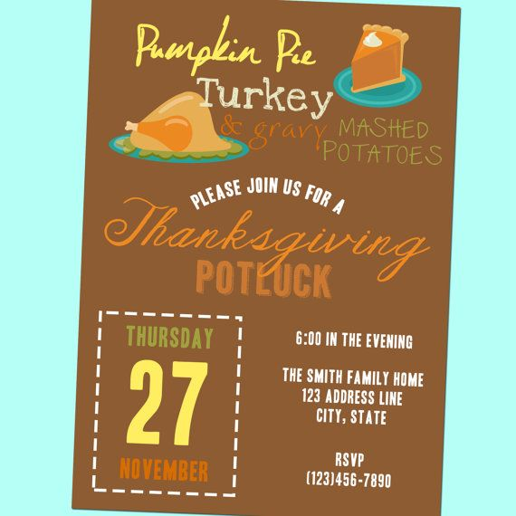 Thanksgiving Potluck Invitation - Printable - 5x7 By GoodHueDesigns
