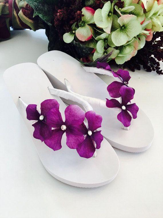 5fcc7245af1a Wedding Flip Flops Wedges.Bridal Flip Flops Sandals. White