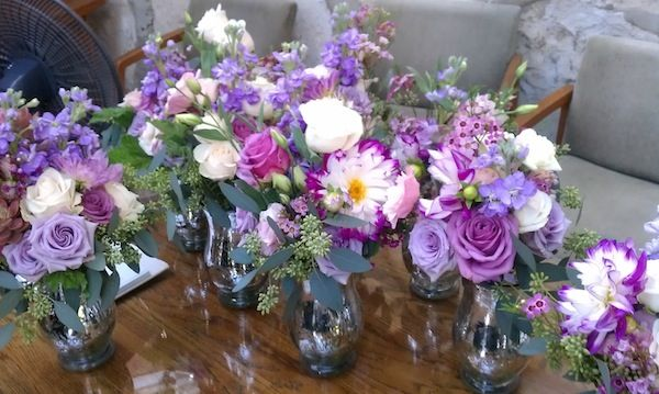 #Purple Bridal and Bridesmaids Bouquets for a lat summer or #fall wedding using Dahlias, Lisianthus and Roses. From Flowerduet.com #FinishWithFlowers