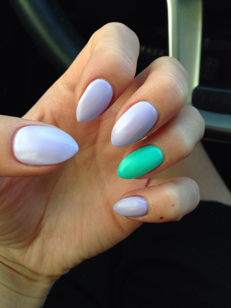 Matte pastel purple and green nails! Almond shape.