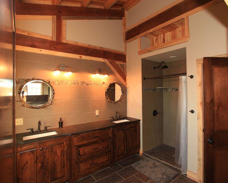 Master Bathroom | Double Vanity | Rustic Post & Beam Barn Home Sand Creek Post & Beam