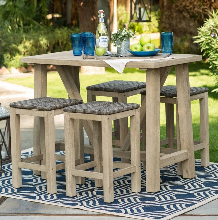 Beautiful Wood Patio Dining Set Crafted From Durable Acacia Wood. Includes  Plank High Table And