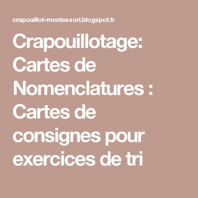 Crapouillotage: Cartes de Nomenclatures : Cartes de consignes pour exercices de tri