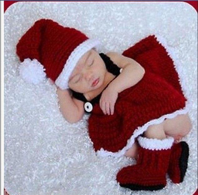 $13.00 Newborn Baby Christmas Santa Knitted Crochet Costume Photo Photography Prop N