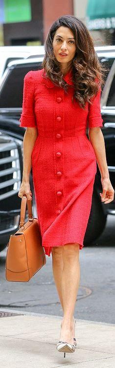 Dolce & Gabbana Woven Shirt Dress with Buttons, red