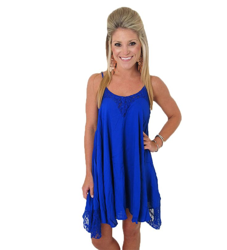 The perfect blue dress for the Grove. Ole Miss game day dress. Cobalt dress with lace. This is a knockout!