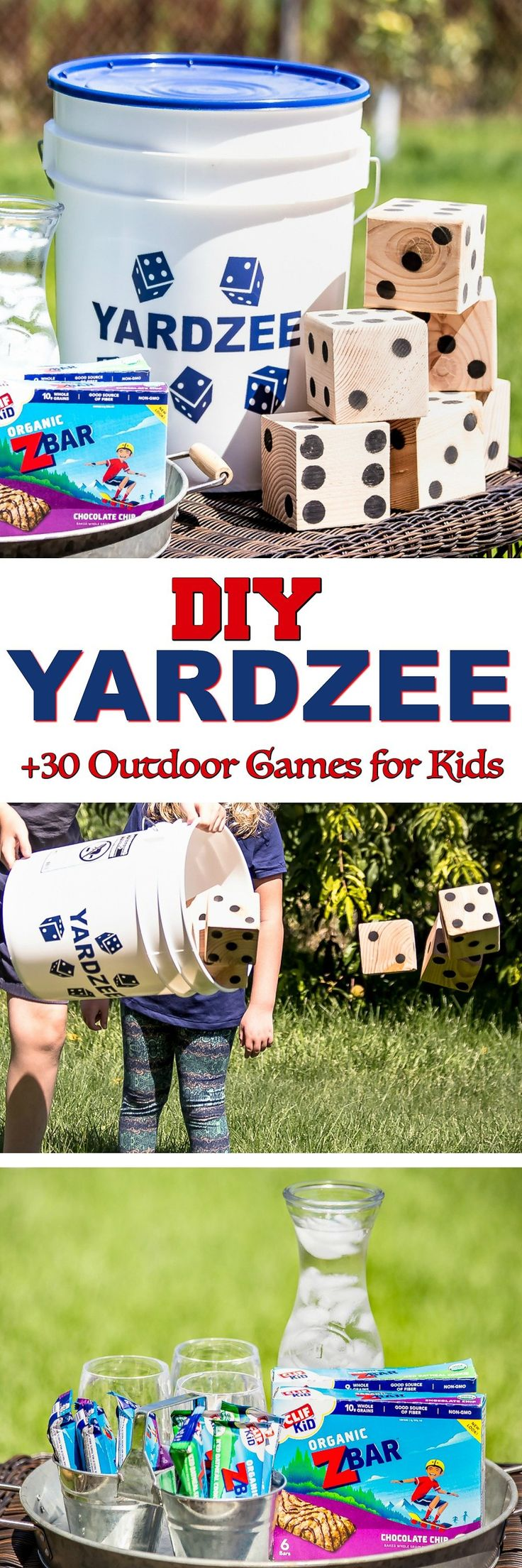 Whatever happened to PLAY? Kids spend too much time indoors. So check out these classic outdoor games for kids plus a DIY Yardzee Tutorial to get your kids outside playing and active again! #CLIFKid AD