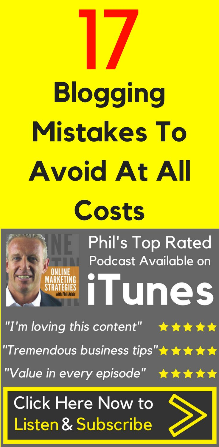 17 Blogging Mistakes To Avoid At All Costs If you haven't already committed a few of the slip-ups I'll be discussing here, then great! I'm happy to know that you might benefit from my past mistakes, as well as the blunders others have made. Listen to the 17 #Blogging #Mistakes To Avoid At All Costs Now!