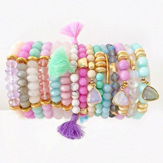 La Jade Original y pulsera elástica de piedras por LovesAffect