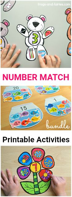 Are you looking for cute and colorful printable activities that'll help your little learners build a strong number sense? This number match bundle includes 3 fun and colorful sets, together more than 60 pages! #numbersense #counting #printablesforkids