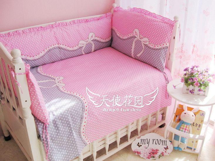 Дешевые с оборками постельное белье детская кроватка постельное белье хлопка вокруг все   комплексный пакет можно стирать постельное вокруг, Детская кровать комплект купить на AliExpress