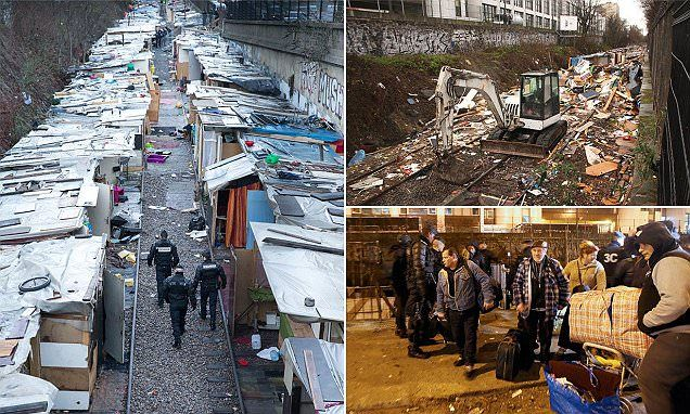 Paris shanty town smashed to pieces after French police swoop in dawn raid