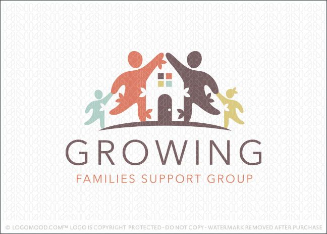 Logo for sale: Family and home logo design concept featuring four family members with two parents and two children. The parent figure's arms are joined together with a house created between them within the white space. The two children figure's hands are holding their parents hands, representing unity, togetherness, and support. Natural simple leaf elements are added to the design to represent growth.
